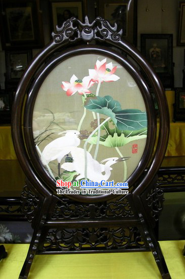 Chinese Double-sided Embroidery Handicraft-Lotus and White Heron