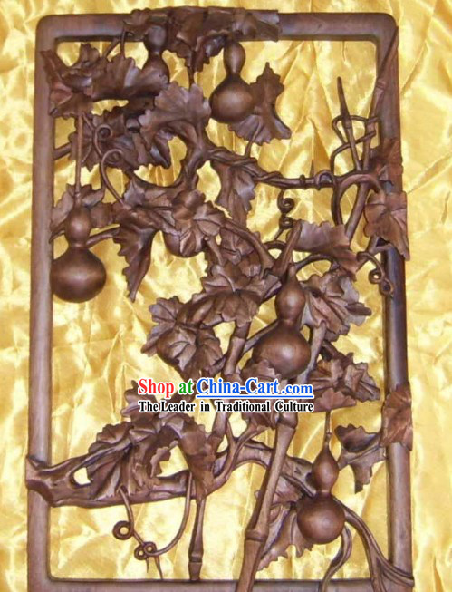 Chinese Palace Hand Carved Wooden Wall Hanging-Gathering Rich Gourd