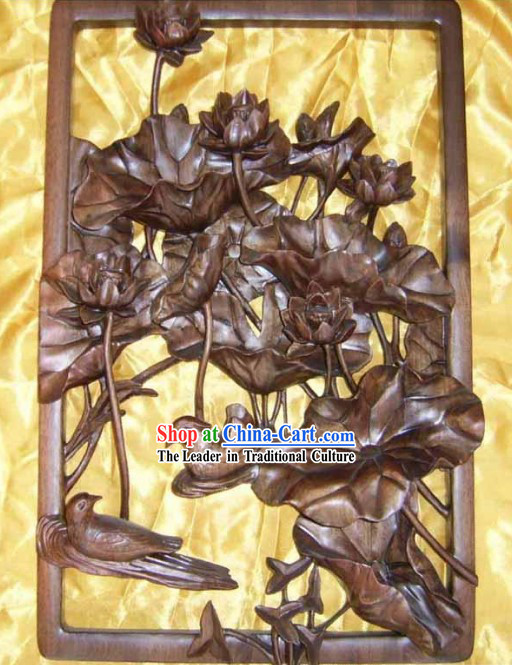 Chinese Palace Hand Carved Wooden Wall Hanging-Paddling Mandarin Ducks