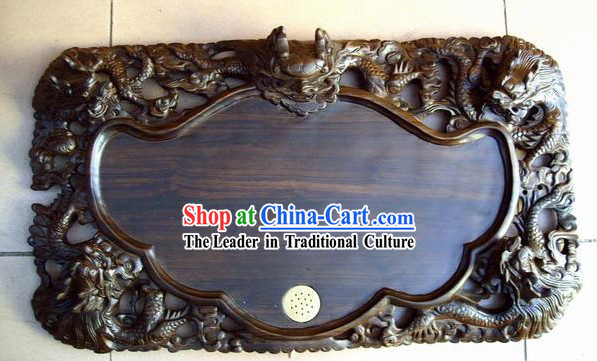 Chinese Hand Carved Natural Ebony Wood Tea Tray-Dragon Gathering