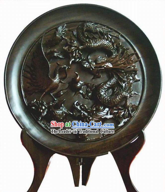 Chinese Hand Carved Ebony Wood Plate-Dragon, Phoenix, Tortoise and Kylin