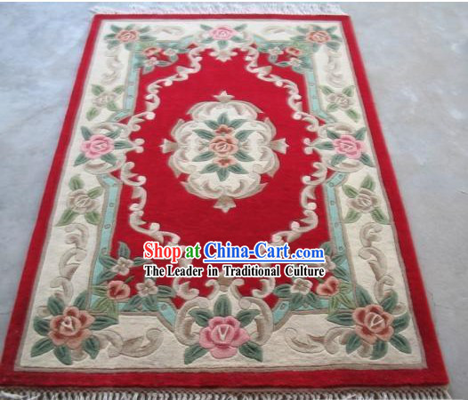 Art Decoration Chinese 100_ Wool Hand Embroidered Rug _152_198CM_