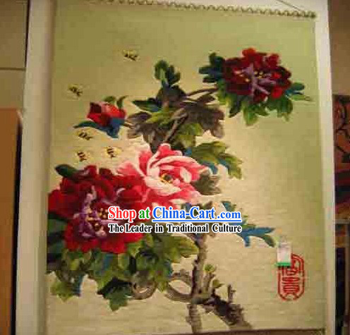 Art Decoration Chinese 100_ Wool Hand Embroidered Tapestry _85_160cm_
