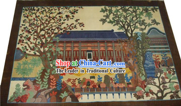 Art Decoration Chinese Hand Made Thick Natural Silk Hanging Rug_180_120cm_