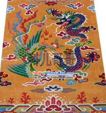 Art Decoration Chinese Hand Made Wool Dragon and Phoenix Rug 1 _180_93cm_