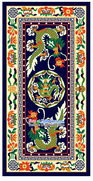 Art Decoration China Tibetan Large Hand Made Wool Rug-Dragons _200_400cm_