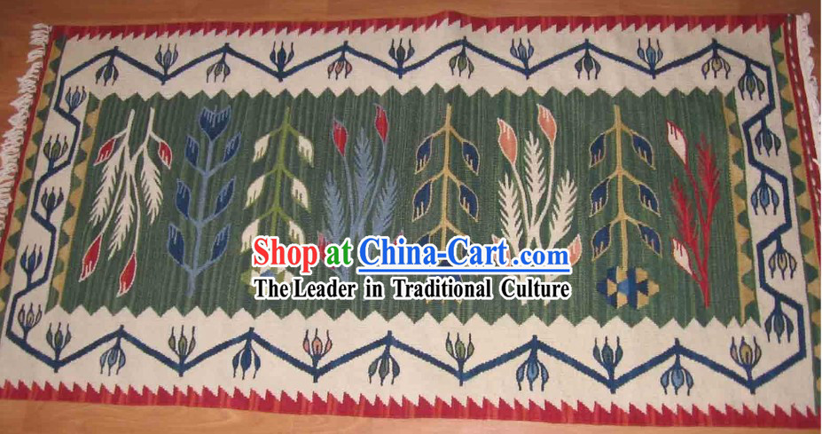 Art Decoration China Tibetan Large Hand Made Wool Rug _70_135cm_
