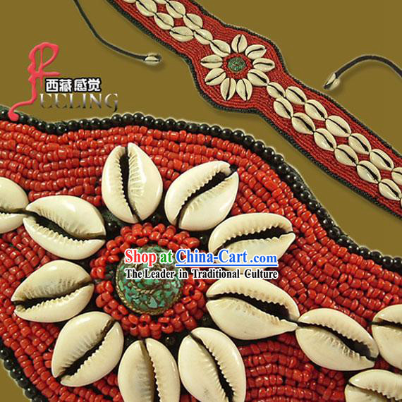 Tibetan 100_ Hand Made Red Coral Kallaite Decoration Belt