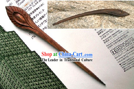 Hand Carved Chinese Traditional Walnut Hair Pin _Hairpin_-Peacock
