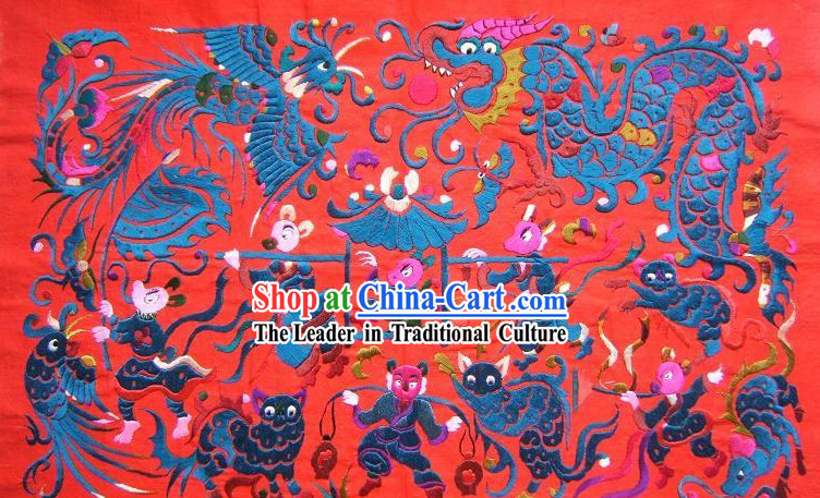 Chinese Miao Minority Silk Thread Hand Embroidery Art-Mouse Getting Married