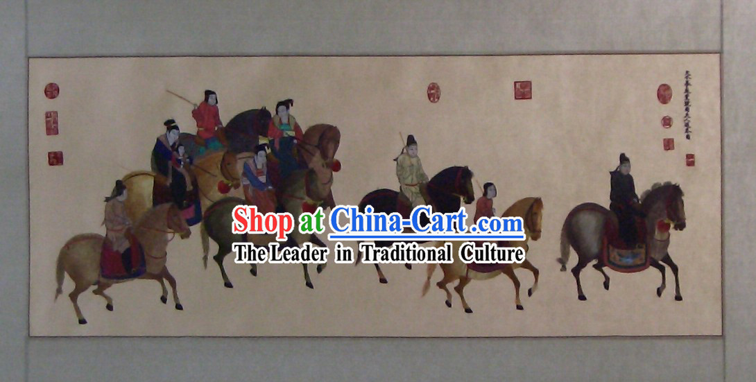 Chinese Classic Hand Embroidered Silk Painting-The Outing of Lady Guo Guo