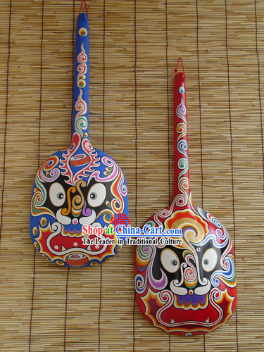 Chinese Hand Painted Du Huo Ma Shao Hanging Mask Pair