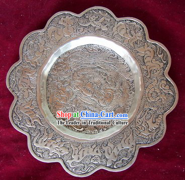 China Miao Tribe Silver Plate-Mandarin Ducks