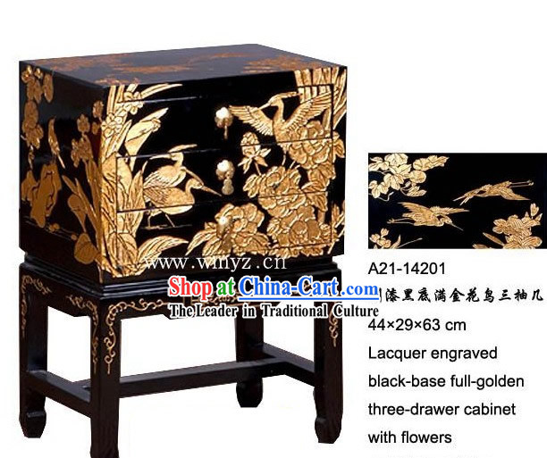 Lacquer Engraved Black-base Full-golden Three-drawer Cabinet with Flowers