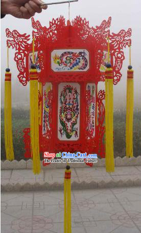 Large Hand Carved Chinese Traditional Paper Palace Lantern - Dragons _2 sets_