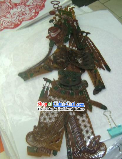 Traditional Chinese Hand Carved Shadow Play - Ancient Hero