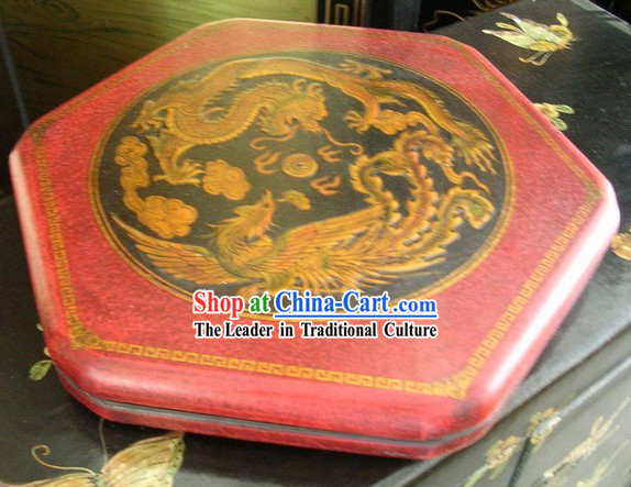 Unique Classical Dragon and Phoenix Chinese Checkers Wooden Set