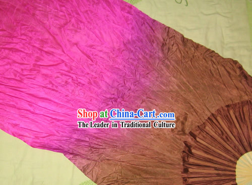 Supreme Bamboo Handle Chinese Traditional Silk Dance Fan _purple to brown color transition_