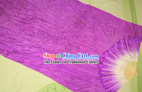Supreme Bamboo Handle Chinese Traditional Silk Dance Fan (purple)