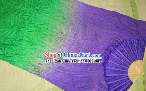 Supreme Bamboo Handle Chinese Traditional Silk Dance Fan _purple to green color transition_