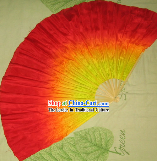 Supreme Bamboo Handle Chinese Traditional Silk Dance Fan _yellow to red color transition_