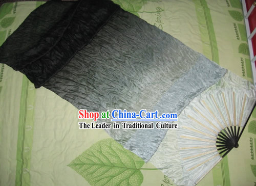 Supreme Bamboo Handle Chinese Traditional Silk Dance Fan _black to white color transition_