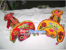 Chinese Hand Embroidered and Made Lucky Lion Pillow _Pair_