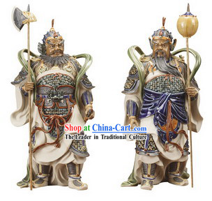 Chinese Classical Shiwan Statues-Door God Pair _2 Statues Set_