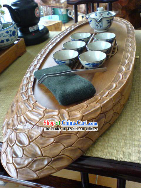 Chinese Stunning Hand Carved Dragon Scale Tea Tray