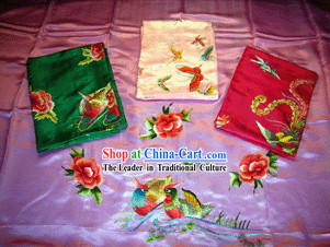 Chinese Classical Fu Rui Xiang Hand Embroidery Silk Wedding Bedcover-Dragon and Phoenix