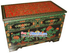 Chinese Gorgeous Palace Flowery Wood Cabinet