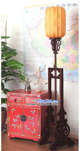 87 Inches Height Archaize Chinese Classical Walnut Wood Palace Floor Lantern