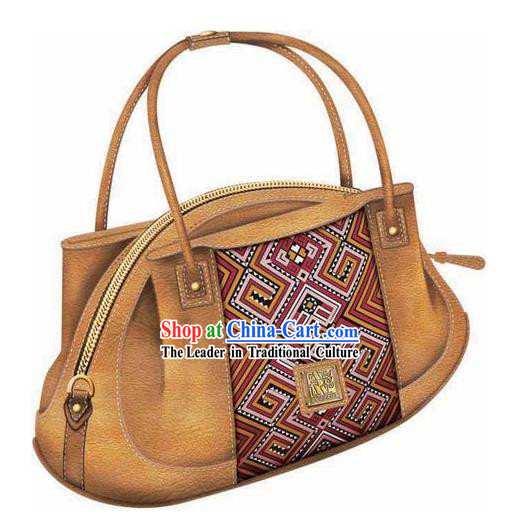 Hand Made and Embroidered Chinese Miao Minority Handbag for Women - Desert