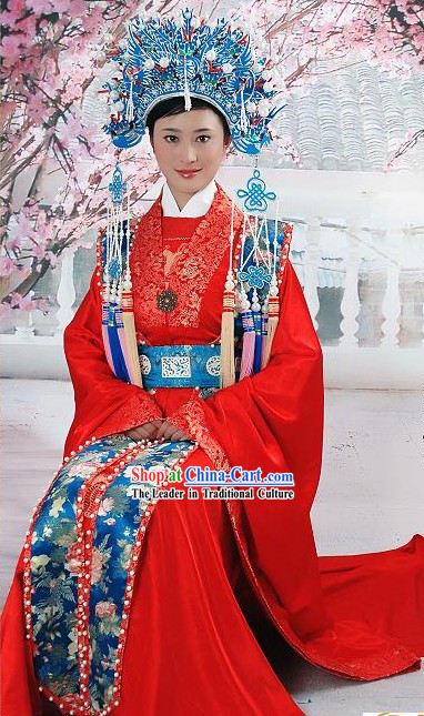 Supreme Chinese Traditional Red Wedding Dress and Phoenix Crown Complete Set