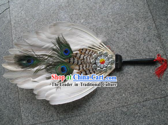 Hand Made Chinese Ancient Peacock Fan _the Eight Diagrams Design_