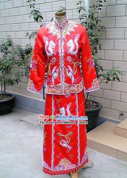 Chinese Traditional Lucky Red Phoenix and Dragon Wedding Dress Complete Set