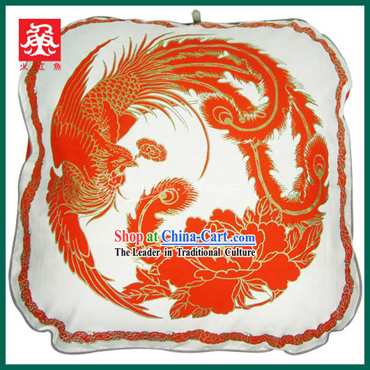 Chinese Traditional Handmade Large Phoenix Cushion Cover