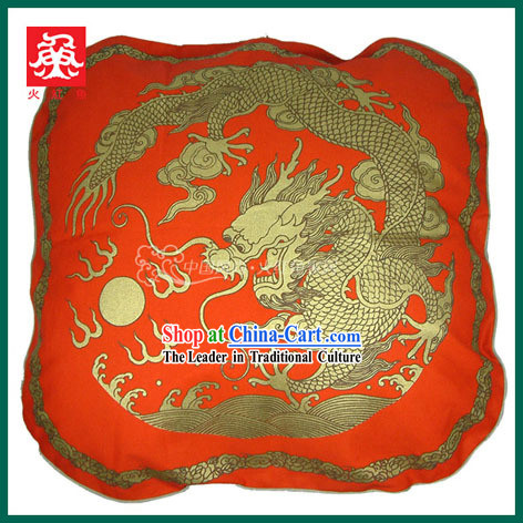 Chinese Traditional Handmade Large Dragon Cushion Cover (red)