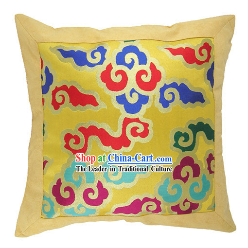 Chinese Traditional Handmade Seven Colors Lucky Cloud Cushion Cover