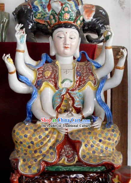 Chinese Traditional Handmade Buddha Ceramics Statue