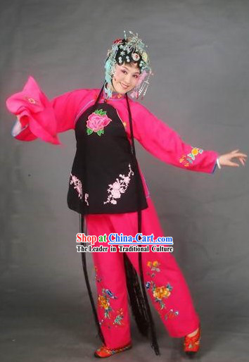 Chinese Classical Beijing Opera Embroidered Blouse and Pants Complete Set for Young Lady