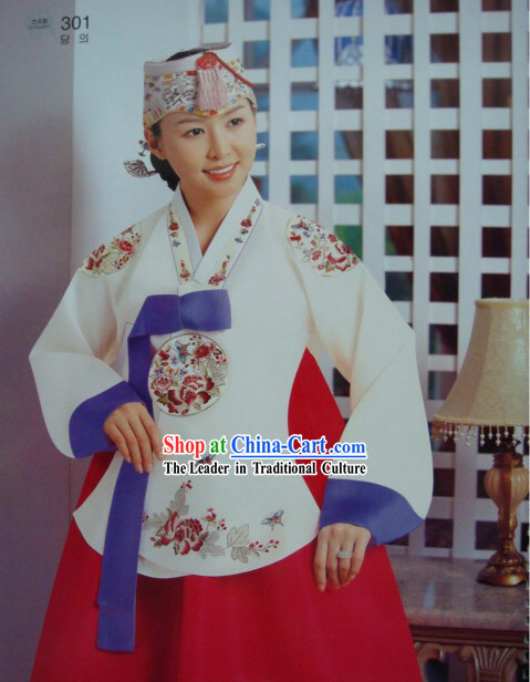 Gorgeous Embroidered Flower Korean Hanbok Complete Set for Women