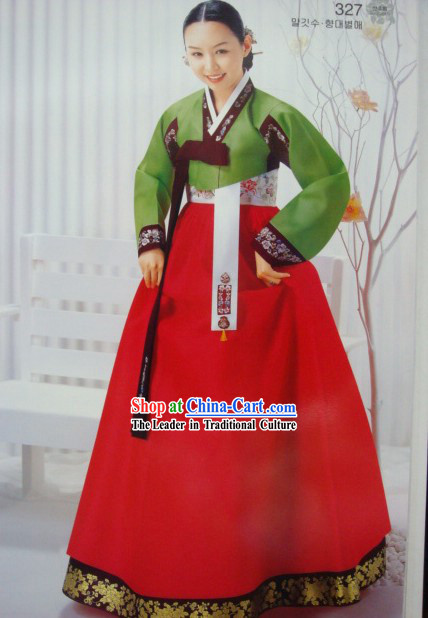 Korean Classic 100_ Handmade Korean Hanbok for Woman _green_