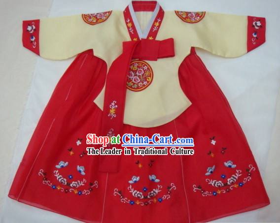 Korean Classic 100_ Handmade Lucky Red Hanbok for Children
