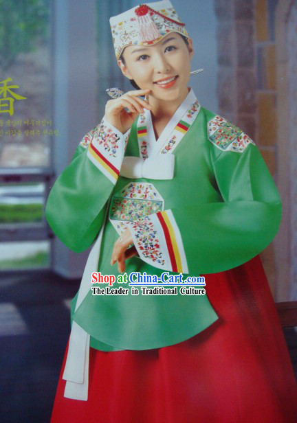 Korean Classic 100_ Handmade Hanbok and Embroidered for Women _green_