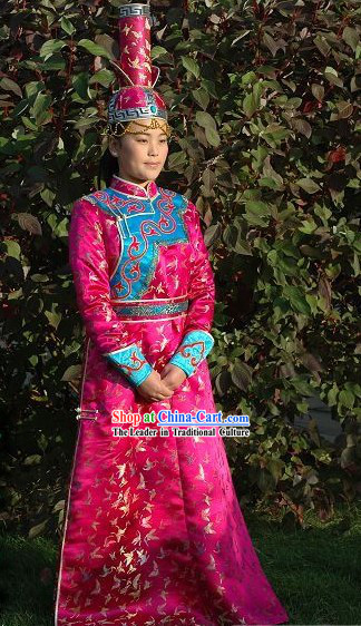 Chinese Traditional Mongolian Long Robe and High Hat Complete Set for Women