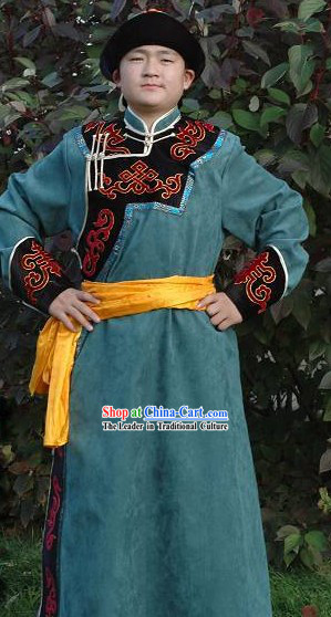 Chinese Traditional Handmade Mongolian Long Robe and Hat for Men