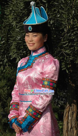 Chinese Traditional Handmade Mongolian Long Robe and Hat Complete Set _pink_
