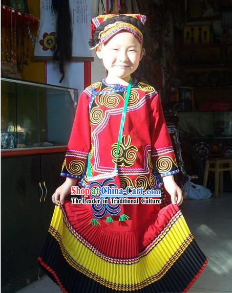 Chinese Traditional Yi Minority Costumes and Hat for Children