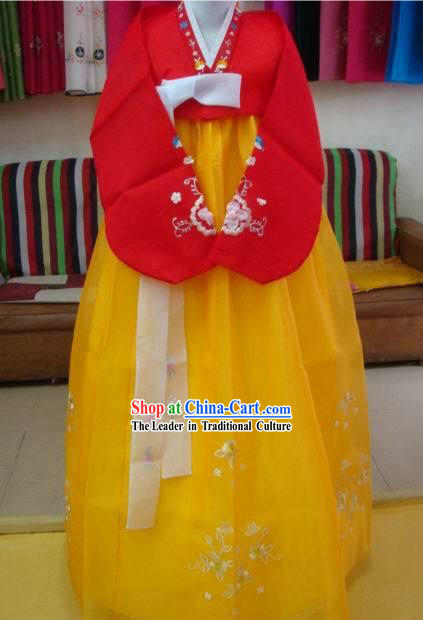 Korean Classic 100_ Handmade Korean Hanbok Tang Dress-Gold Beauty
